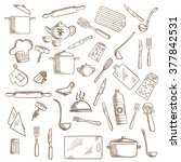 kitchenware and utensil icons... | Shutterstock .eps vector #377842531