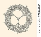 straw nest with three eggs  | Shutterstock . vector #377844745