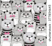 Stock vector cute cats colorful seamless pattern background 377854645