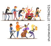 musicians and mucical... | Shutterstock .eps vector #377862421