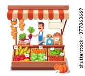 local market farmer selling... | Shutterstock .eps vector #377863669