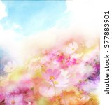 watercolor card with beautiful... | Shutterstock . vector #377883901