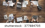 business people analyzing... | Shutterstock . vector #377884705