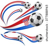 croatia flag set with soccer...