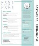 minimalist cv  resume template... | Shutterstock .eps vector #377891599