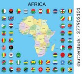 africa   flags around the maps | Shutterstock .eps vector #377903101