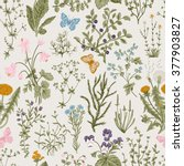 vector vintage seamless floral... | Shutterstock .eps vector #377903827