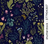 vector vintage seamless floral... | Shutterstock .eps vector #377904307