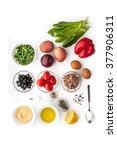 ingredients for nicoise salad... | Shutterstock . vector #377906311