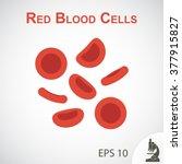 Red blood cells ( flat design ) on vignette background