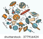 hand drawn doodle of ufo and... | Shutterstock .eps vector #377916424