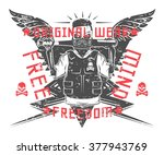 set of rebel skull and... | Shutterstock .eps vector #377943769