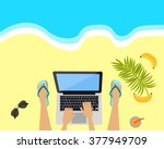 workplace on the beach. laptop  ... | Shutterstock .eps vector #377949709