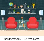 living room with furniture in... | Shutterstock .eps vector #377951695