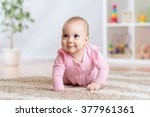 crawling funny baby indoors at... | Shutterstock . vector #377961361