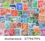 background of stamps mail of... | Shutterstock . vector #377967991