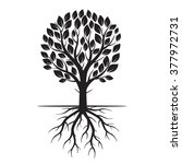 Black Tree And Roots. Vector...