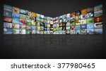 a futuristic video wall with... | Shutterstock . vector #377980465