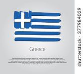 Greece Flag With Colored Hand...