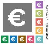 euro sign flat icon set on...