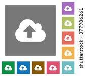 cloud upload flat icon set on...
