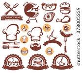 vector set of bbq design... | Shutterstock .eps vector #378005329