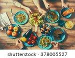 top view of family having... | Shutterstock . vector #378005527