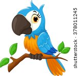 cartoon parrot sitting on tree... | Shutterstock .eps vector #378011245