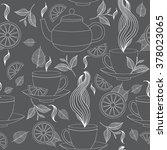 tea time seamless pattern with... | Shutterstock .eps vector #378023065