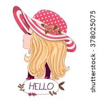 cute girl vector t shirt print... | Shutterstock .eps vector #378025075