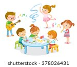 creative  kids dancing ... | Shutterstock .eps vector #378026431