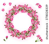 wreath of cherry blossom... | Shutterstock .eps vector #378028339