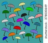 vintage open color umbrella... | Shutterstock .eps vector #378030649