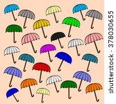 vintage open color umbrella... | Shutterstock .eps vector #378030655