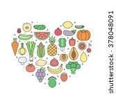 fruit and vegetable... | Shutterstock .eps vector #378048091