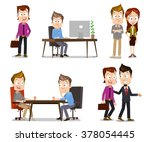 set of business people... | Shutterstock .eps vector #378054445