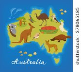 australia map with cute animals.... | Shutterstock .eps vector #378065185