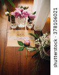 rose peonies with greenery in... | Shutterstock . vector #378106021