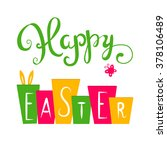 happy easter card. easter hand
