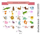 english alphabet with animals | Shutterstock .eps vector #378111055