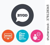 byod icons. human with notebook ... | Shutterstock .eps vector #378128365
