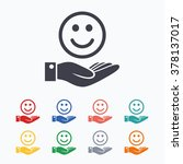 smile and hand sign icon. palm... | Shutterstock .eps vector #378137017