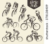 hand drawn set of bicyclist... | Shutterstock .eps vector #378138409