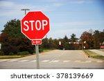 stop sign in front of road... | Shutterstock . vector #378139669