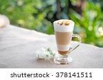 fancy latte coffee in glass jar | Shutterstock . vector #378141511