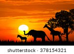 silhouette the tree and animal... | Shutterstock . vector #378154321
