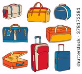 big collection of suitcases ... | Shutterstock .eps vector #378172381