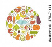 fish  eggs  vegetables  fruits  ... | Shutterstock .eps vector #378174661