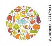 fish  eggs  vegetables  fruits  ... | Shutterstock .eps vector #378174661