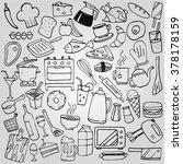 kitchen doodles collection set | Shutterstock .eps vector #378178159